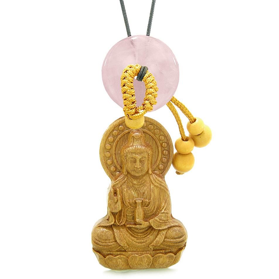 Kwan Yin Quan Magic Lotus Car Charm Home Decor Rose Quartz Lucky Coin Donut Protection Amulet