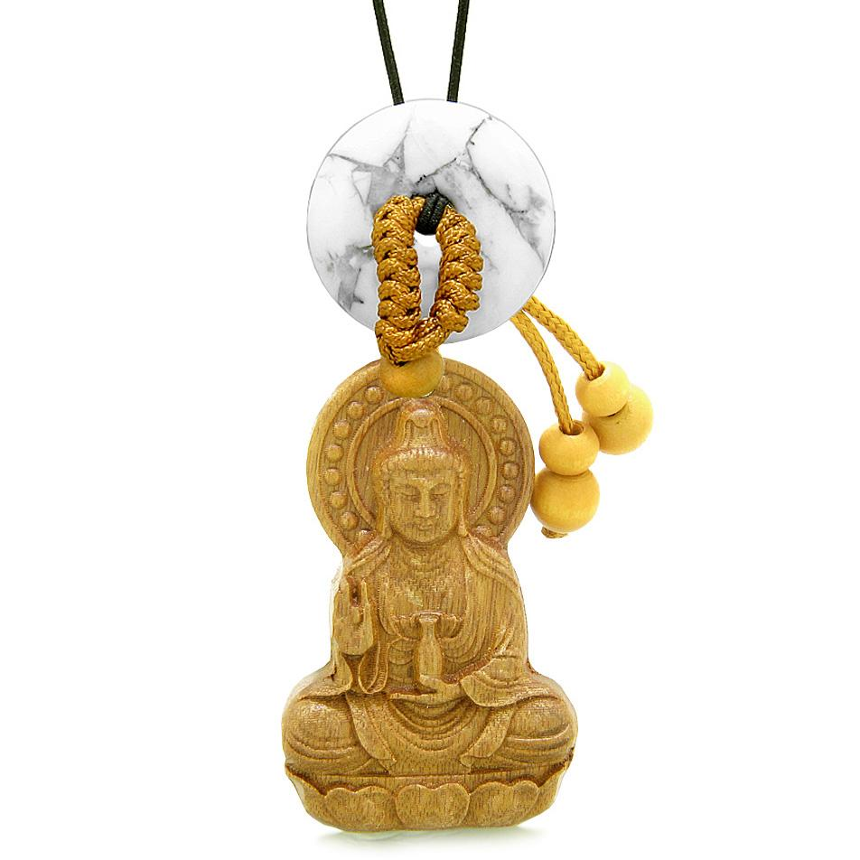 Kwan Yin Quan Magic Lotus Car Charm Home Decor White Howlite Lucky Coin Donut Protection Amulet