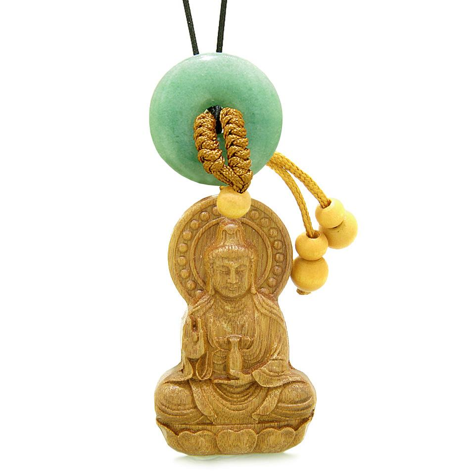 Kwan Yin Quan Magic Lotus Car Charm Home Decor Green Quartz Lucky Coing Donut Protection Amulet
