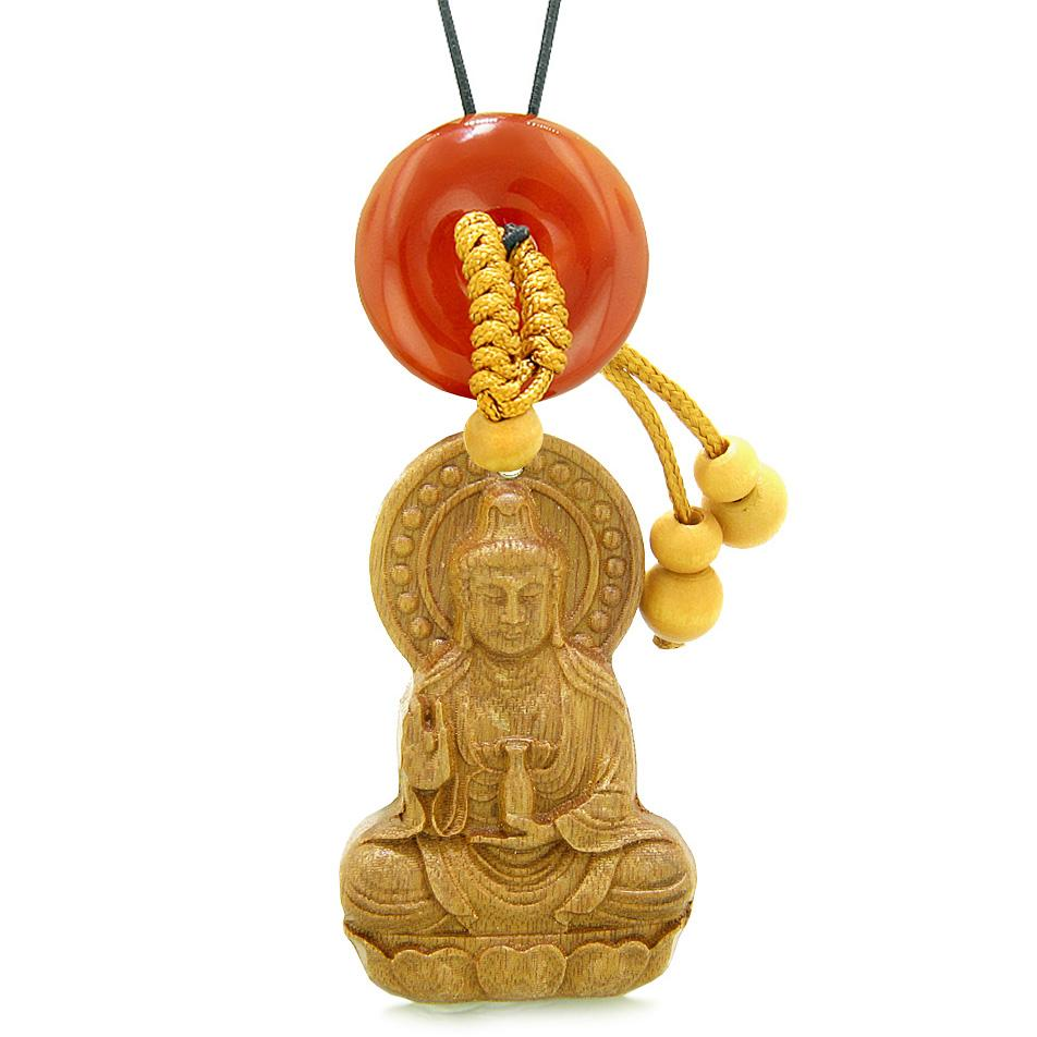 Kwan Yin Quan Magic Lotus Car Charm Home Decor Carnelian Lucky Coin Donut Protection Powers Amulet