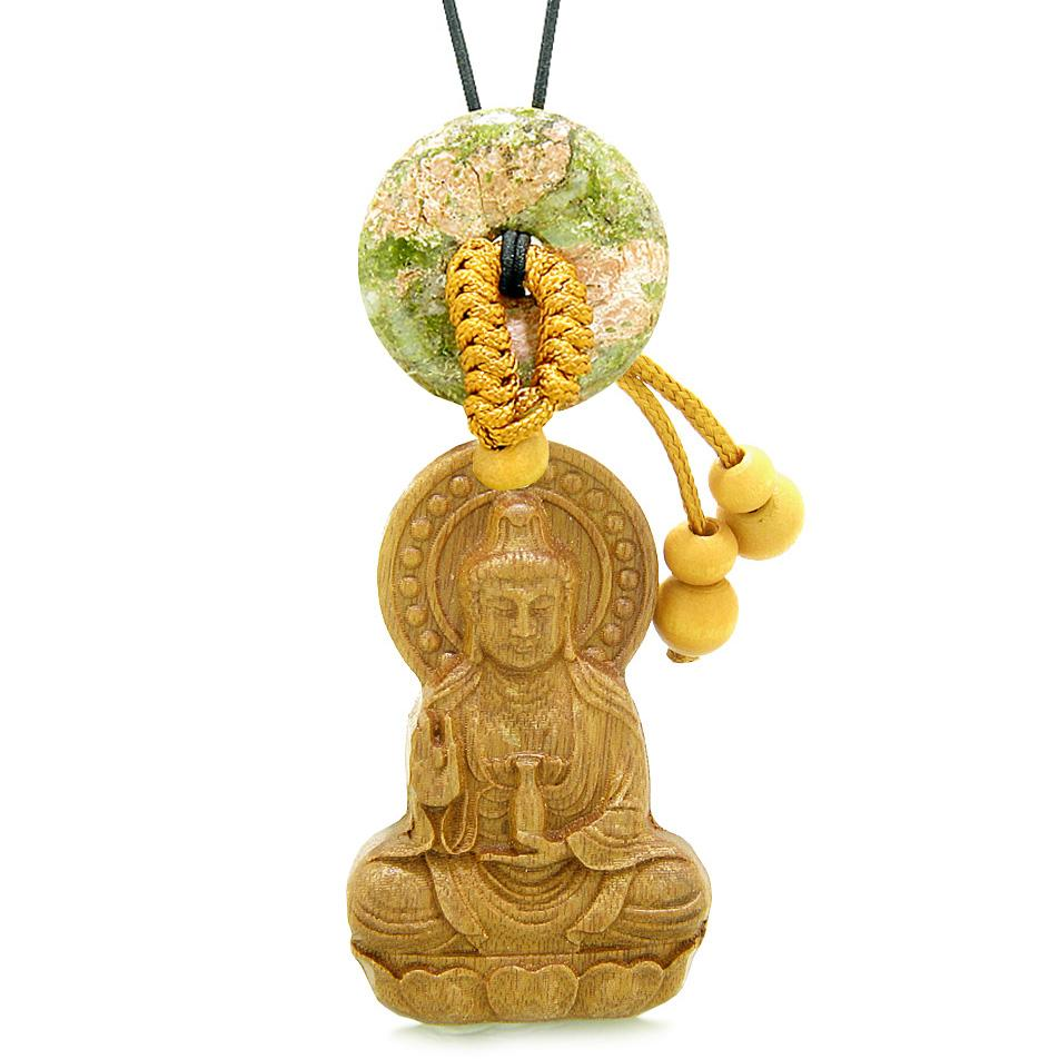 Kwan Yin Quan Magic Lotus Car Charm or Home Decor Unakite Lucky Coin Donut Protection Powers Amulet