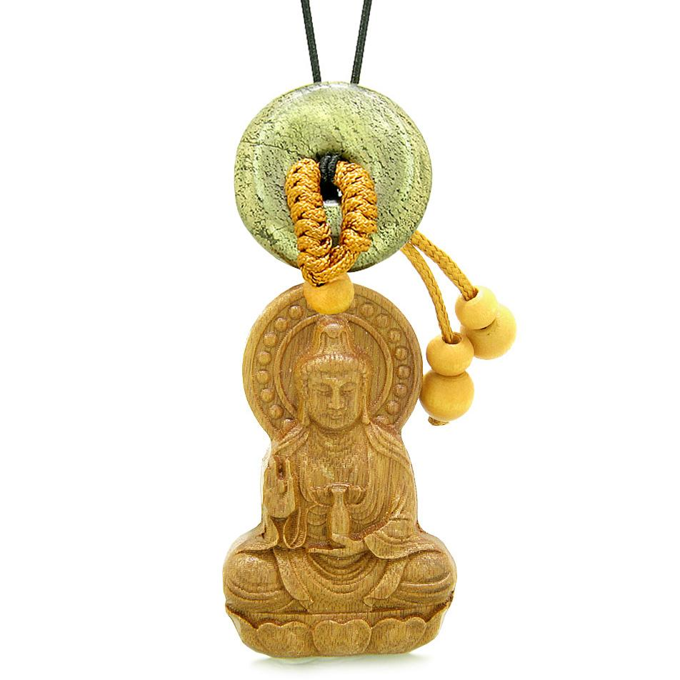 Kwan Yin Quan Magic Lotus Car Charm Home Decor Golden Pyrite IrLucky Coin Donut Protection Amulet