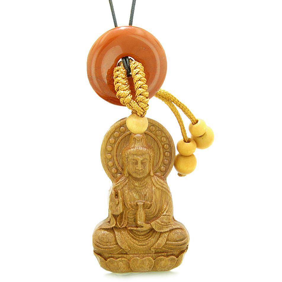 Kwan Yin Quan Magic Lotus Car Charm Home Decor Red Jasper Lucky Coin Donut Protection Powers Amulet