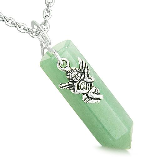Amulet Archangel Thavael Magic Crystal Point Aventurine Gem Spiritual Energy Pendant Necklace