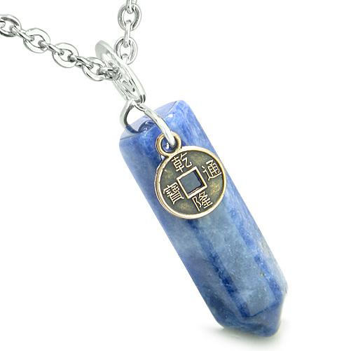 Amulet Lucky Charm Coin Crystal Point Sodalite Gemstone Good Luck Positive Energy Pendant Necklace