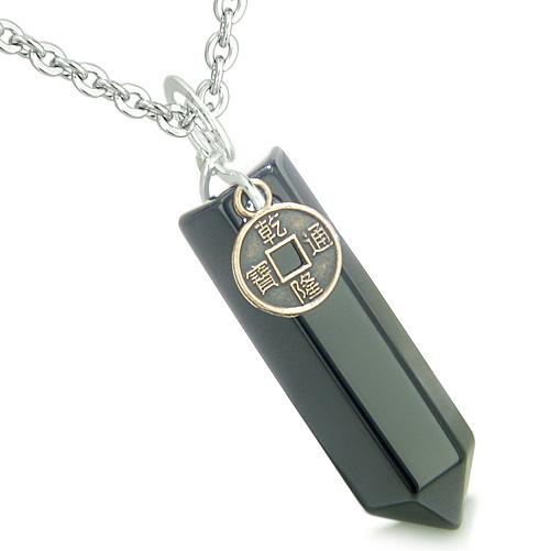 Amulet Lucky Charm Coin Crystal Point Onyx Gemstone Spiritual Positive Energy Pendant Necklace
