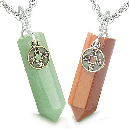 Amulets Energy Love Couple Best Friends Lucky Coin Crystal Point Green Aventurine Jasper Necklaces
