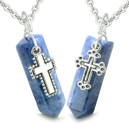 Amulets Positive Energy Holy Cross Charms Couples Best Friends Sodalite Crystal Points Necklaces