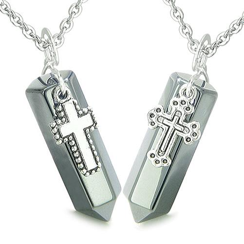 Amulets Positive Energy Holy Cross Couples Best Friends Hematite Crystal Points Pendants Necklaces