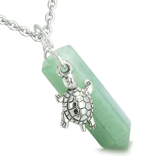 Amulet Turtle Lucky Charm Crystal Point Green Aventurine Good Luck Positive Energy Pendant Necklace