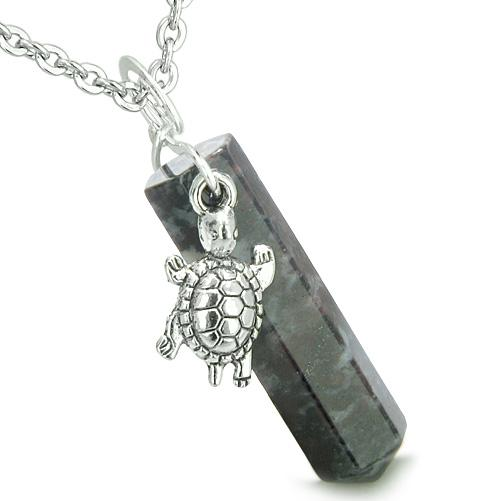Amulet Turtle Lucky Charm Crystal Point Dragon Blood Evil Eye Protection Energy Pendant Necklace