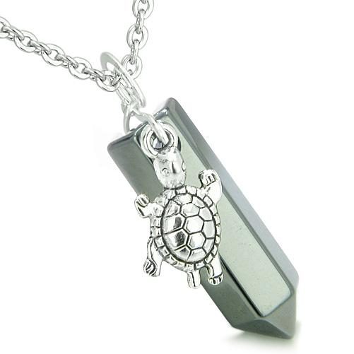 Amulet Turtle Lucky Charm Crystal Point Hematite Evil Eye Protection Energy Pendant Necklace