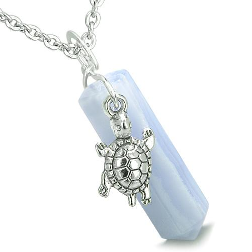 Amulet Turtle Lucky Charm Crystal Point Blue Lace Agate Good Luck Positive Energy Pendant Necklace