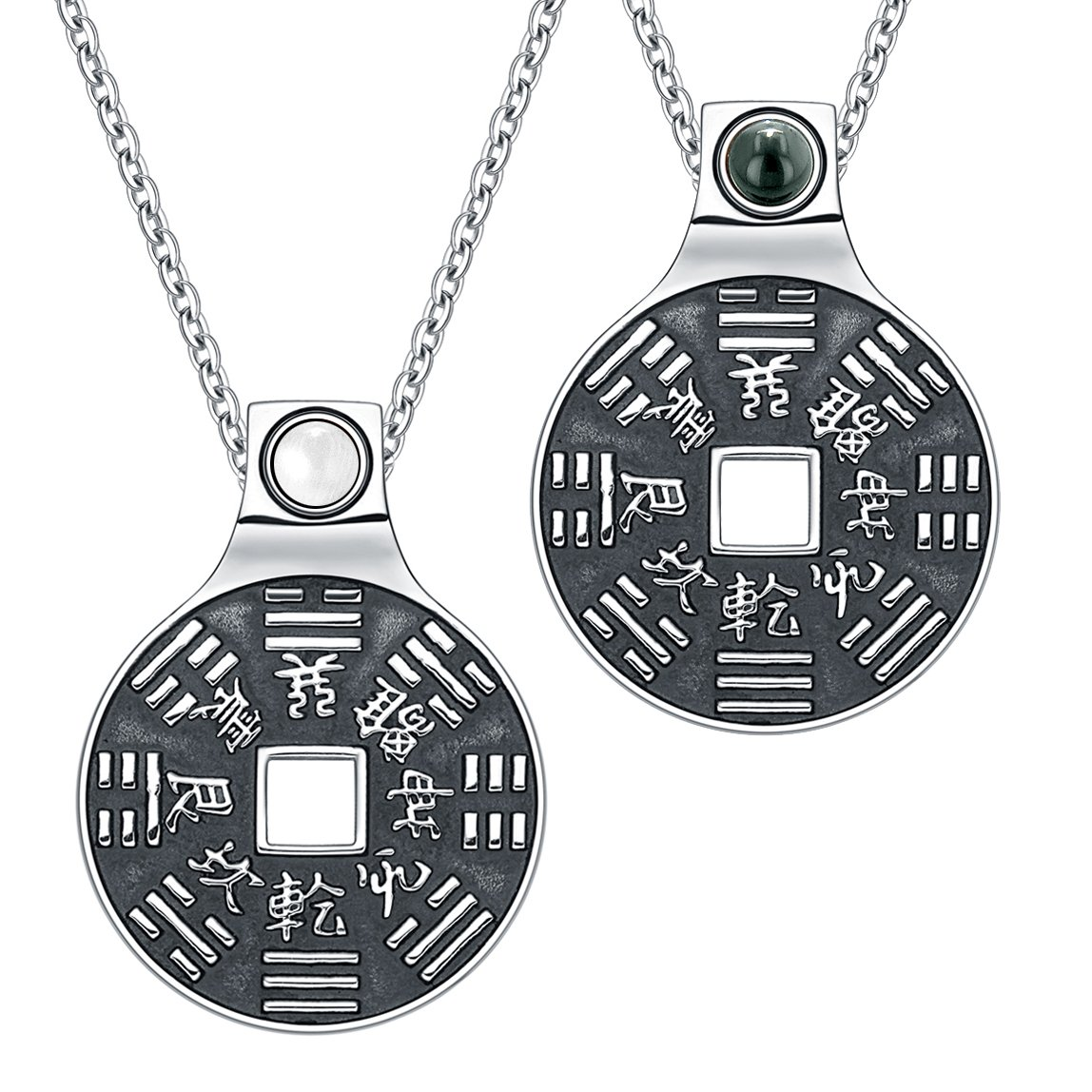 Yin Yang Amulet Love Couple BaGua Forces of Nature Coin Simulated Onyx White Cats Eye Necklaces