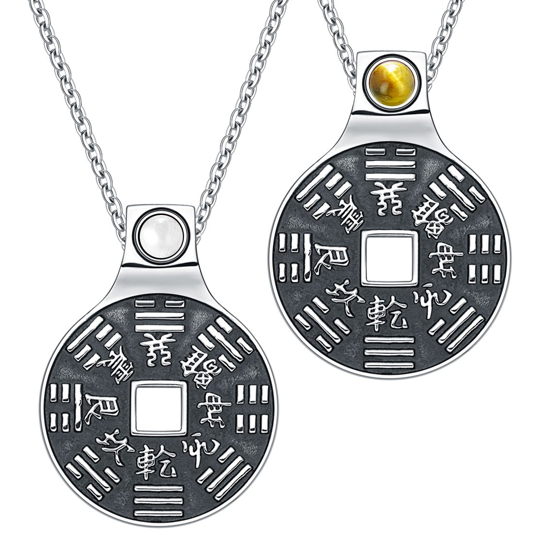 Yin Yang Amulets Love Couple BaGua Forces of Nature Lucky Coins Tiger Eye White Cats Eye Necklaces