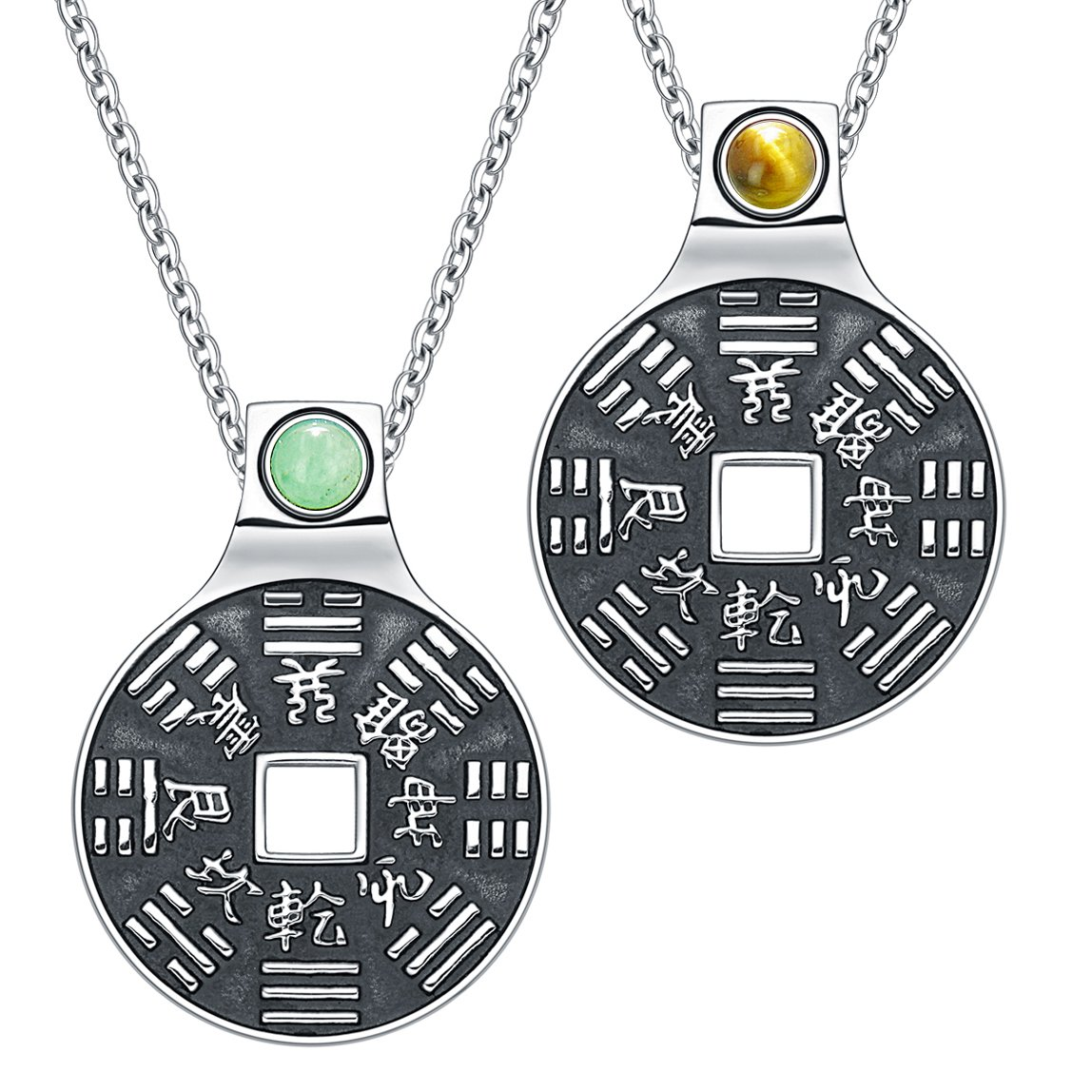 Yin Yang Amulets Love Couple BaGua Forces of Nature Lucky Coins Tiger Eye Green Quartz Necklaces