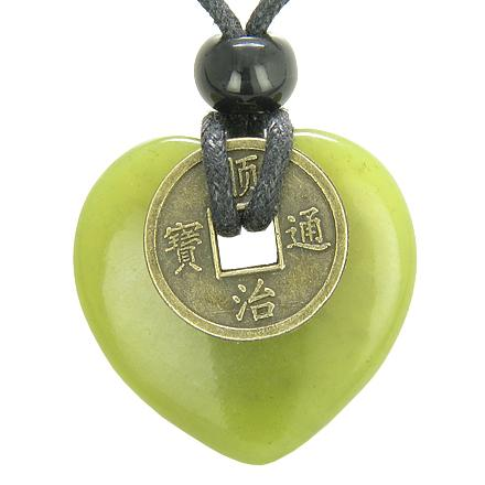Antique Lucky Coin Evil Eye Protection Powers Amulet Green Jade 30mm Heart Donut Pendant Necklace