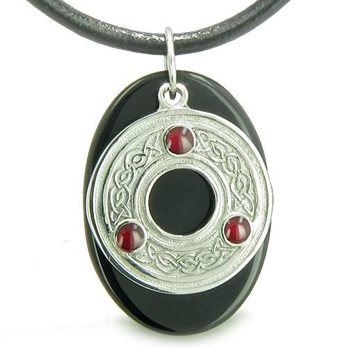 Amulet Celtic Triquetra Protection Knot Onyx Lucky Charm Spiritual Protection Pendant Necklace