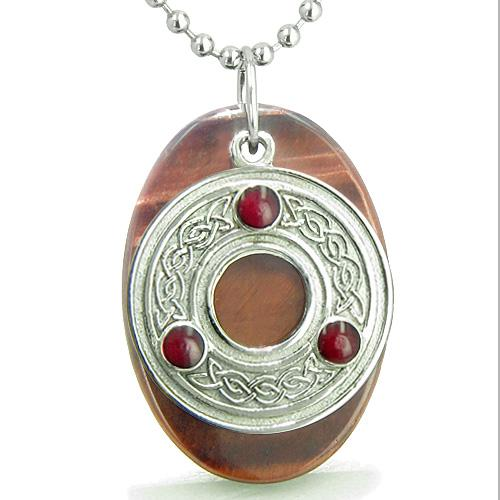 Amulet Celtic Triquetra Protection Knot Red Tiger Eye Lucky Evil Eye Protection Pendant Necklace