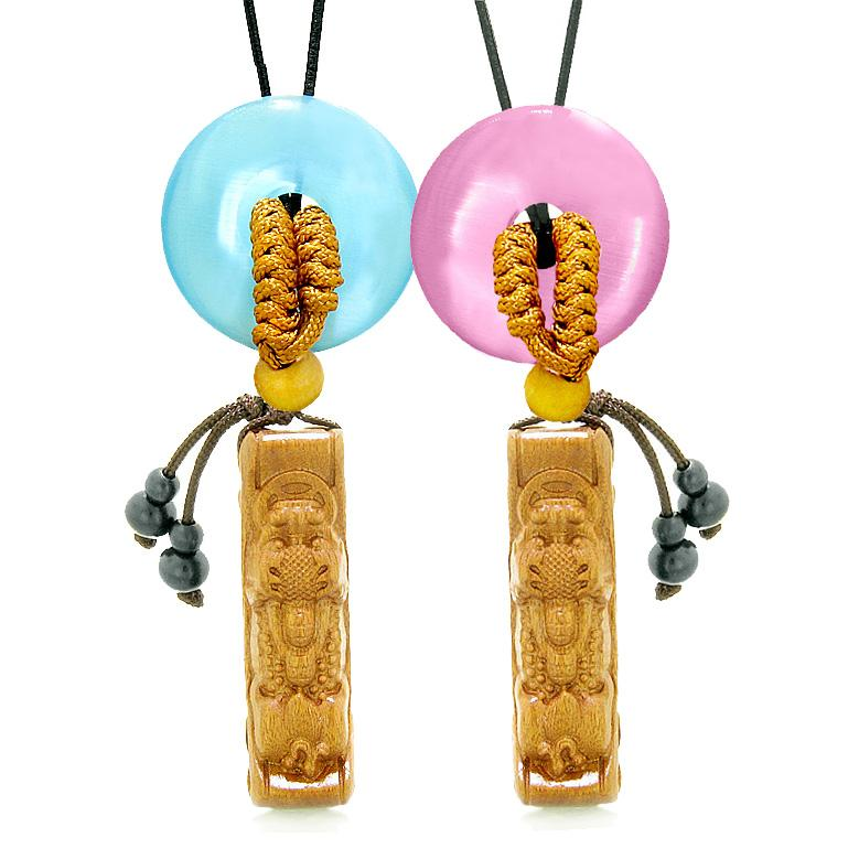 Magic Dragon Car Charm Home Decor Blue Pink Simulated Cats Eye Donut Couples Best Friend Amulets