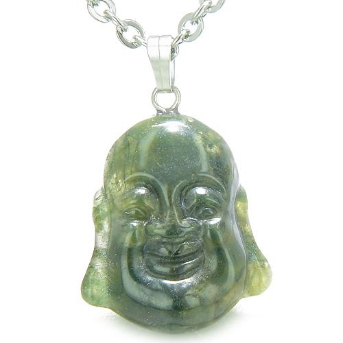 Amulet Happy Laughing Buddha Lucky Charm Green Moss Agate Gemstone Good Luck Power Pendant Necklace