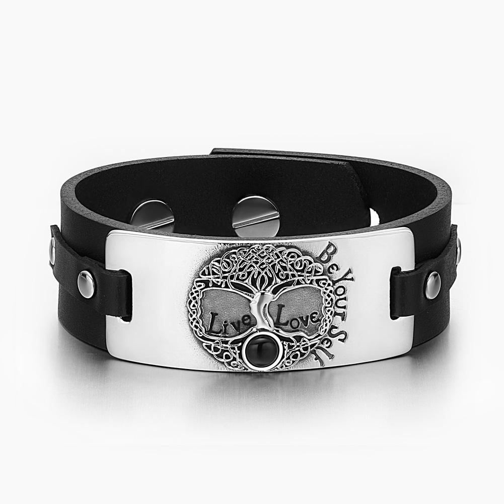 Tree of Life Live Love Be Your Self Celtic Amulet Simulated Black Onyx Black Leather Bracelet
