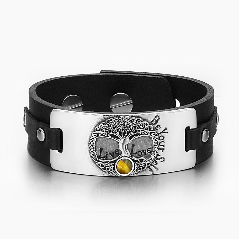 Tree of Life Live Love Be Your Self Celtic Amulet Tiger Eye Gemstone Black Leather Bracelet