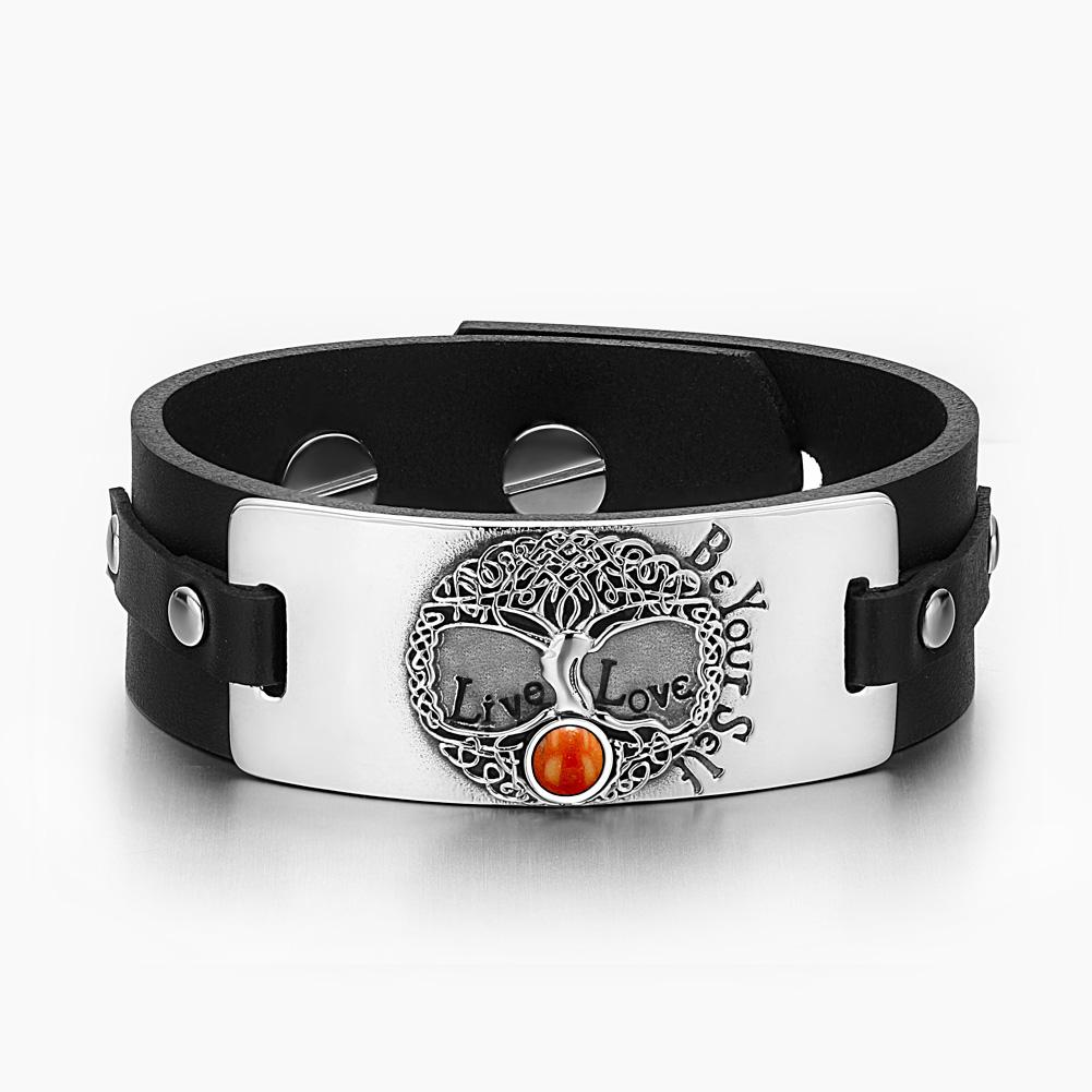 Tree of Life Live Love Be Your Self Celtic Amulet Red Jasper Gemstone Black Leather Bracelet