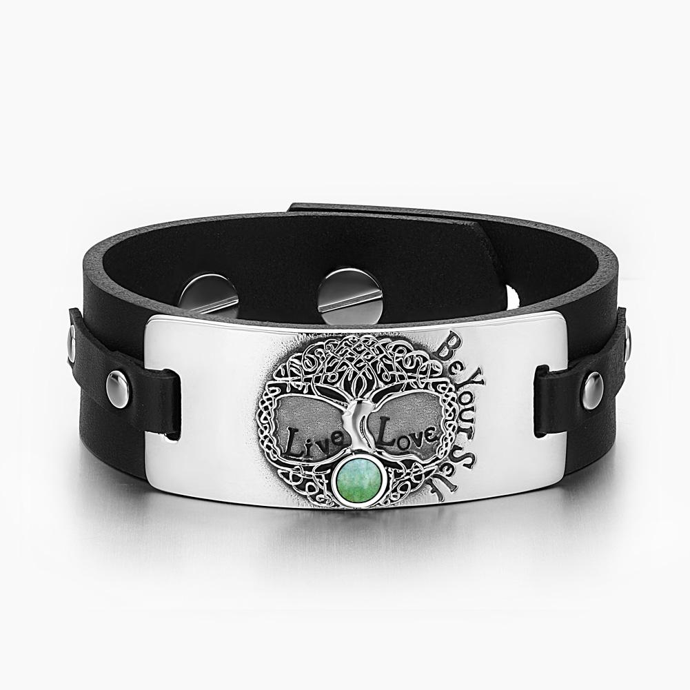 Tree of Life Live Love Be Your Self Celtic Amulet Green Quartz Gemstone Black Leather Bracelet