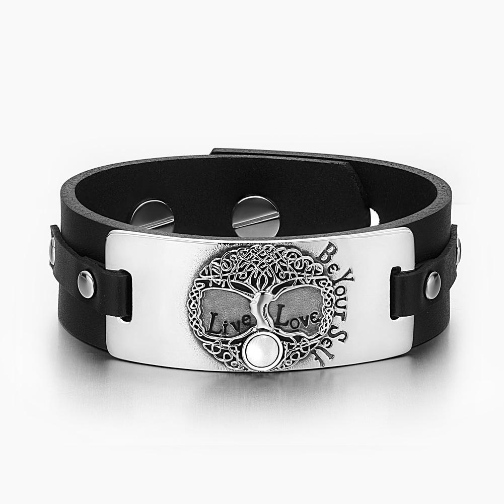 Tree of Life Live Love Be Your Self Celtic Amulet White Simulated Cats Eye Black Leather Bracelet