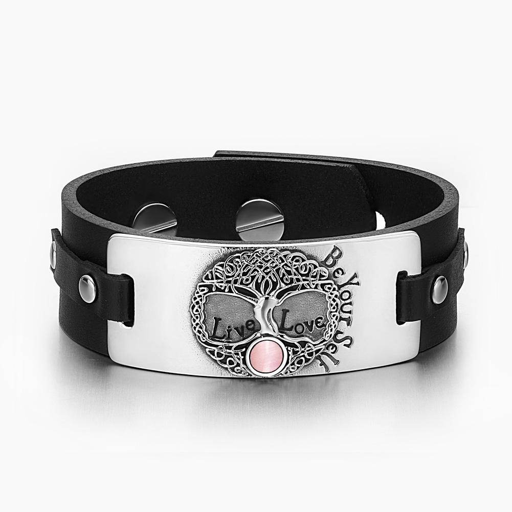 Tree of Life Live Love Be Your Self Celtic Amulet Pink Simulated Cats Eye Black Leather Bracelet
