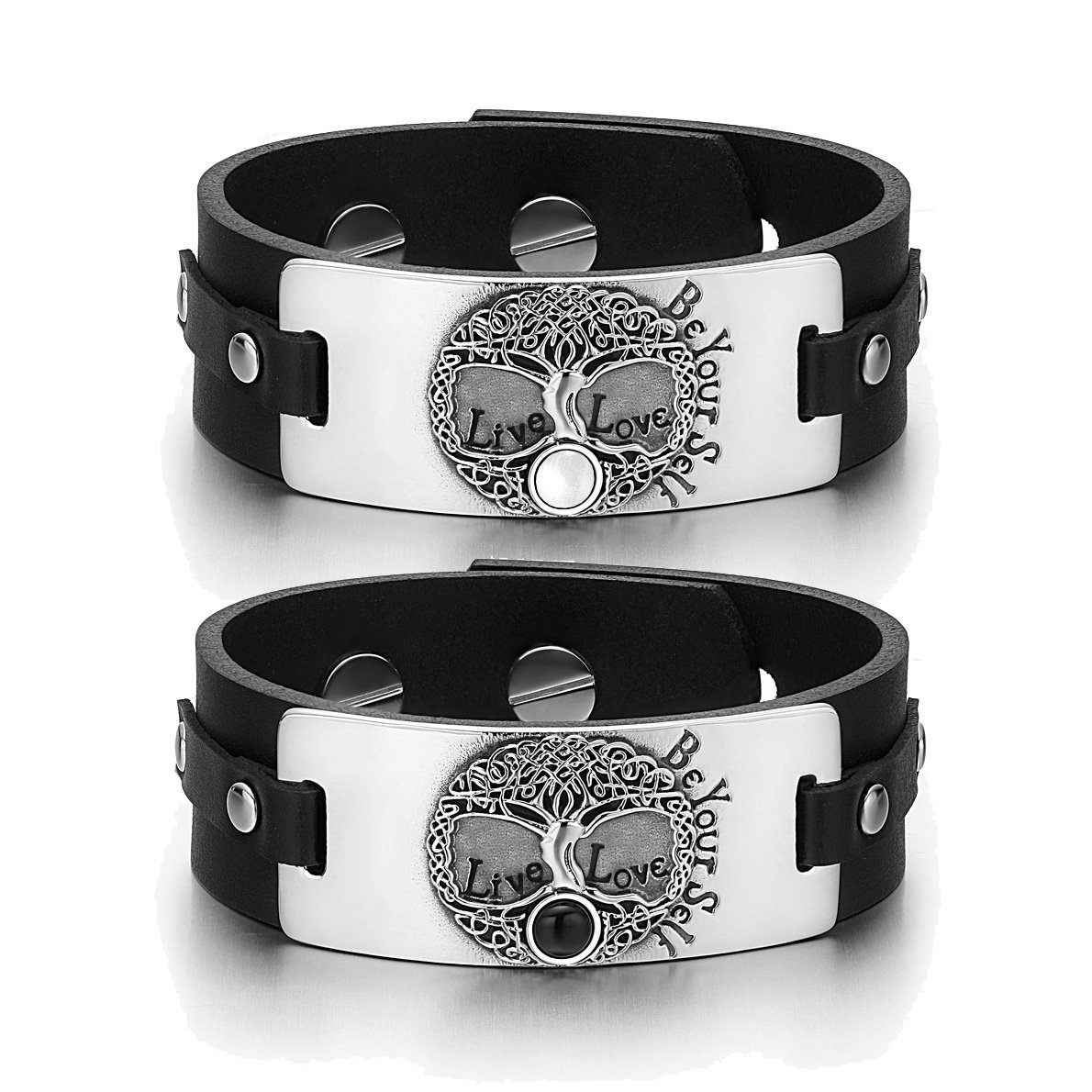 Tree of Life Celtic Love Couples White Simulated Cats Eye Simulated Onyx Black Leather Bracelets