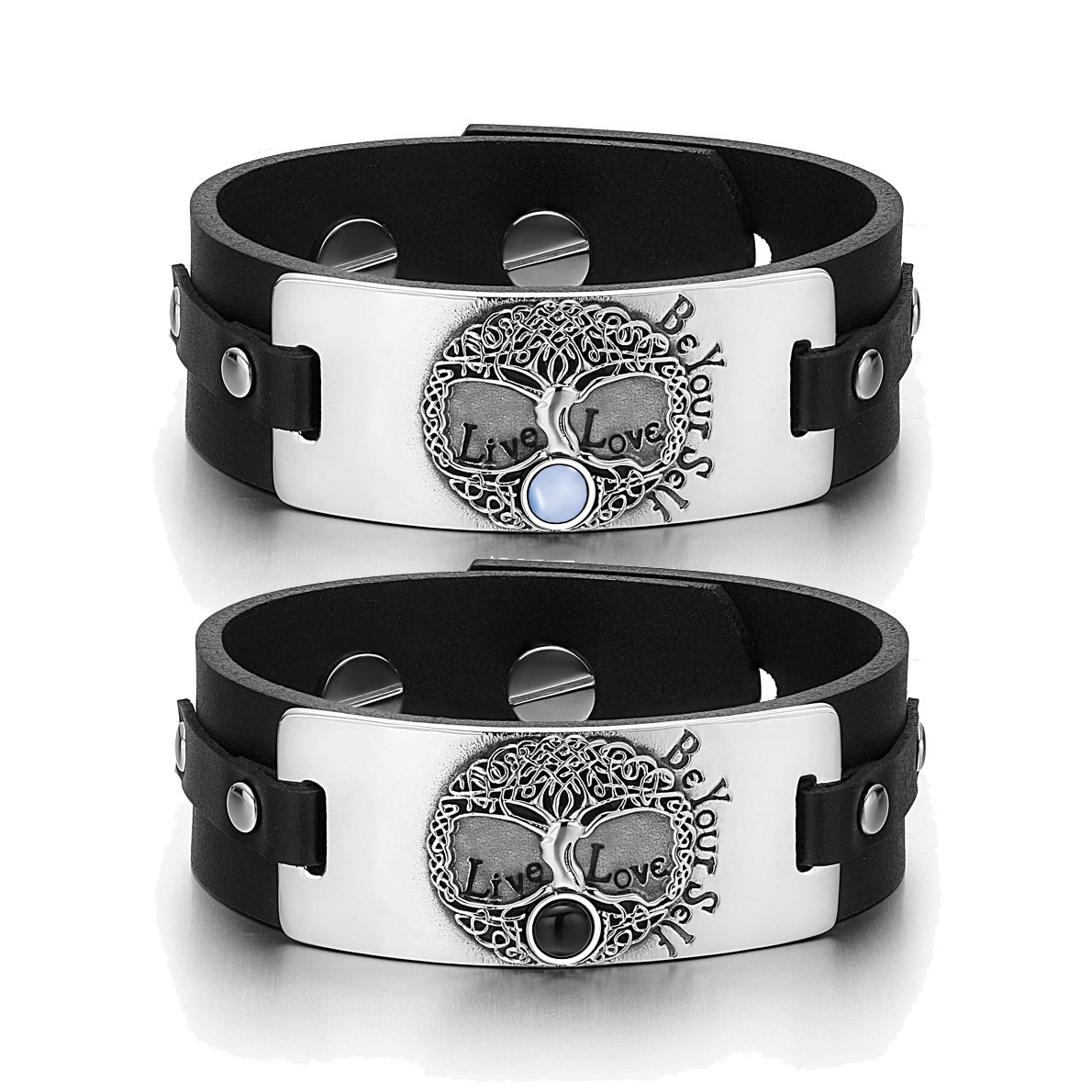 Tree of Life Celtic Powers Couples Blue Simulated Cats Eye Simulated Onyx Black Leather Bracelets