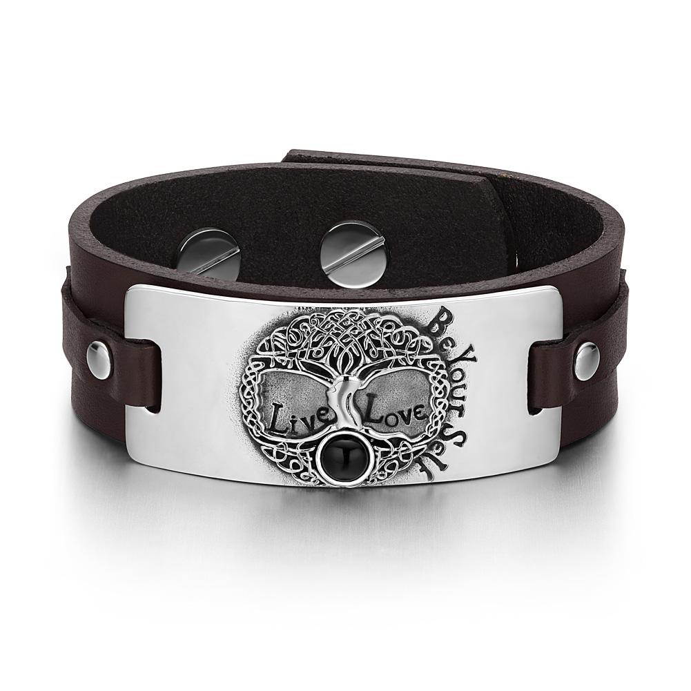 Tree of Life Live Love Be Your Self Celtic Amulet Simulated Black Onyx Brown Leather Bracelet