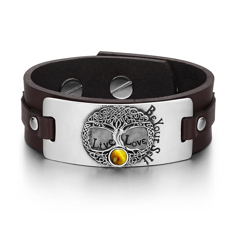 Tree of Life Live Love Be Your Self Celtic Amulet Tiger Eye Gemstone Brown Leather Bracelet