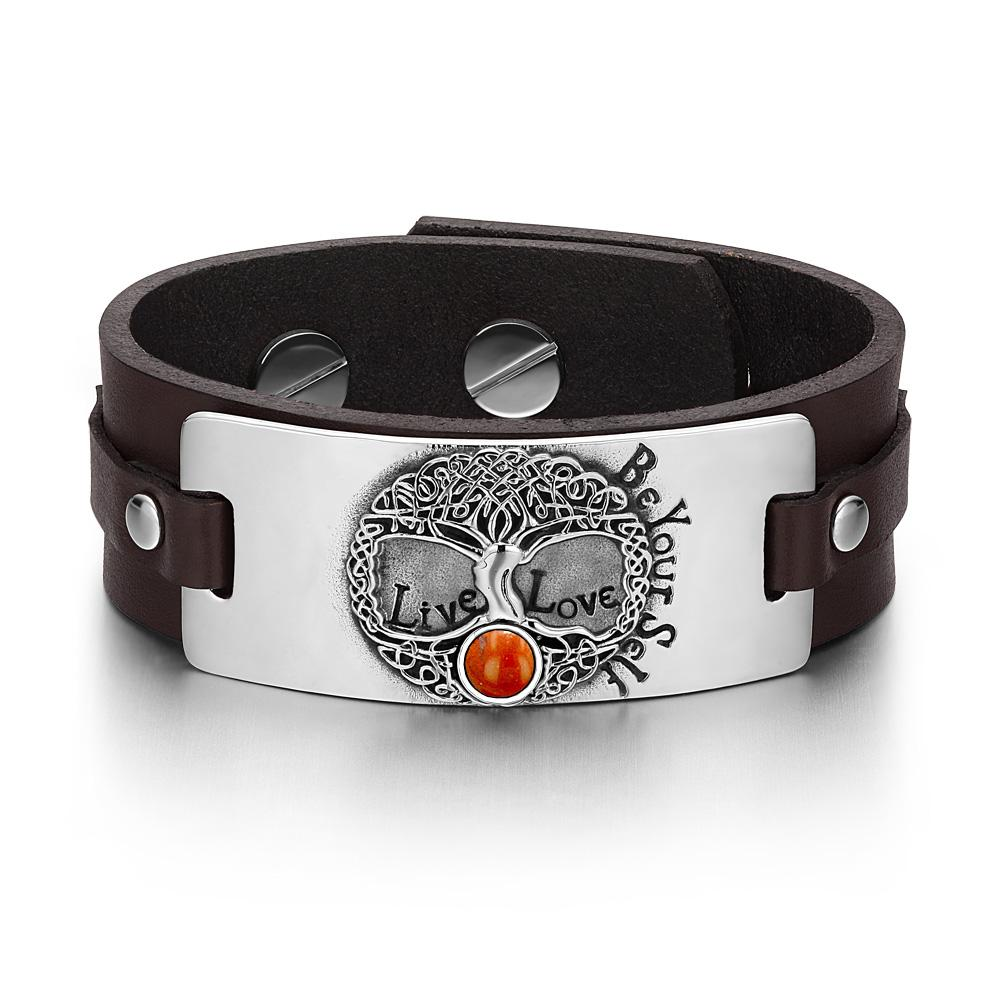 Tree of Life Live Love Be Your Self Celtic Amulet Red Jasper Gemstone Brown Leather Bracelet