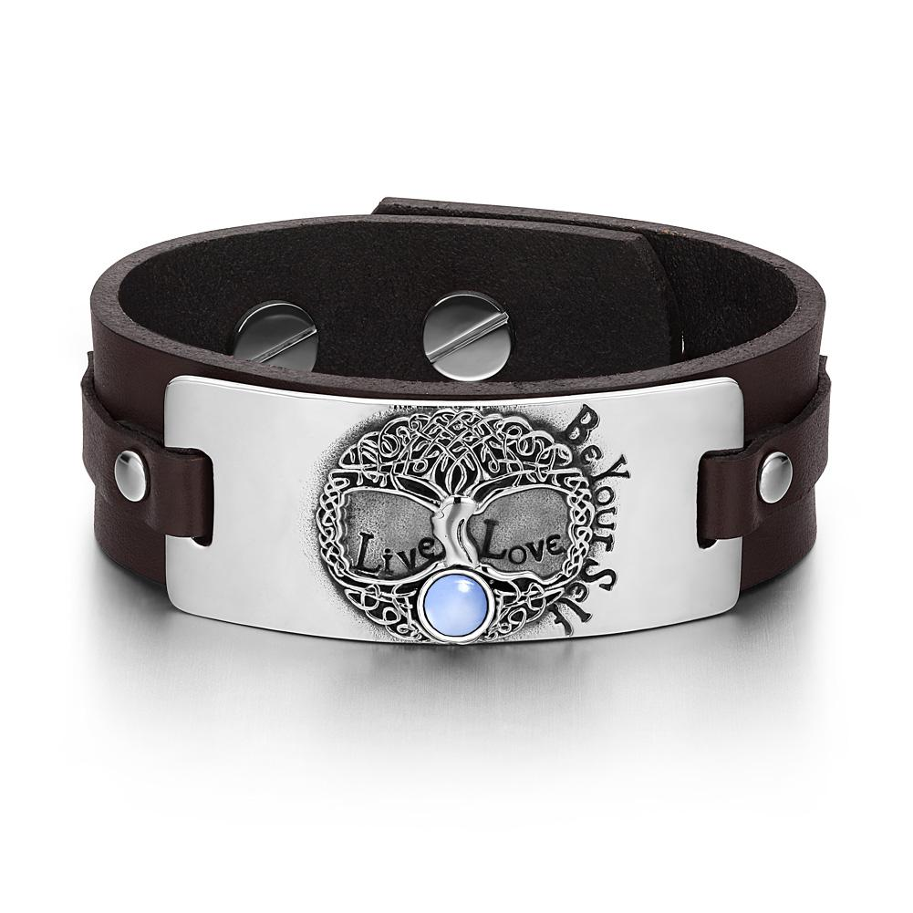 Tree of Life Live Love Be Your Self Celtic Amulet Blue Simulated Cats Eye Brown Leather Bracelet