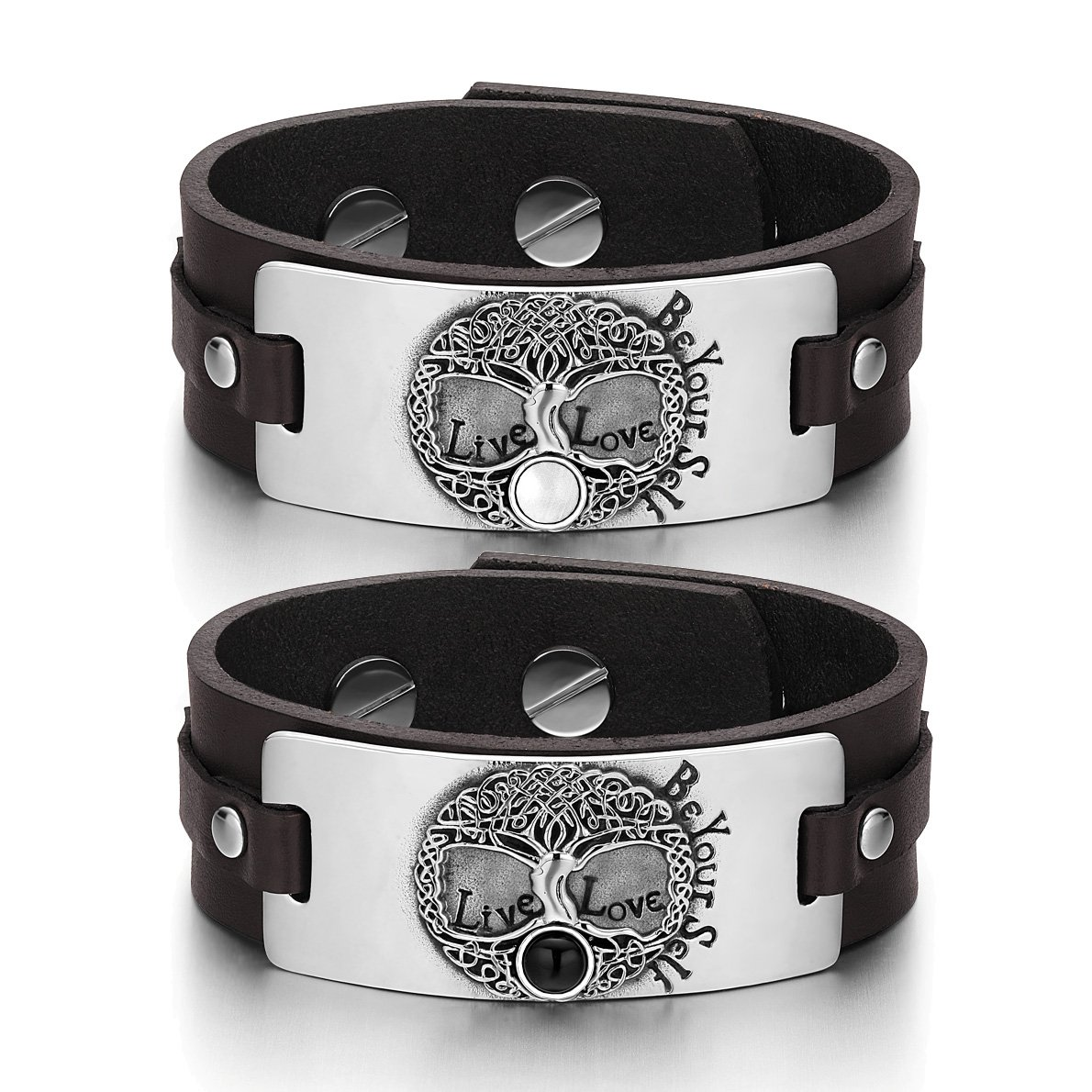 Tree of Life Celtic Love Couples White Simulated Cats Eye Simulated Onyx Brown Leather Bracelets