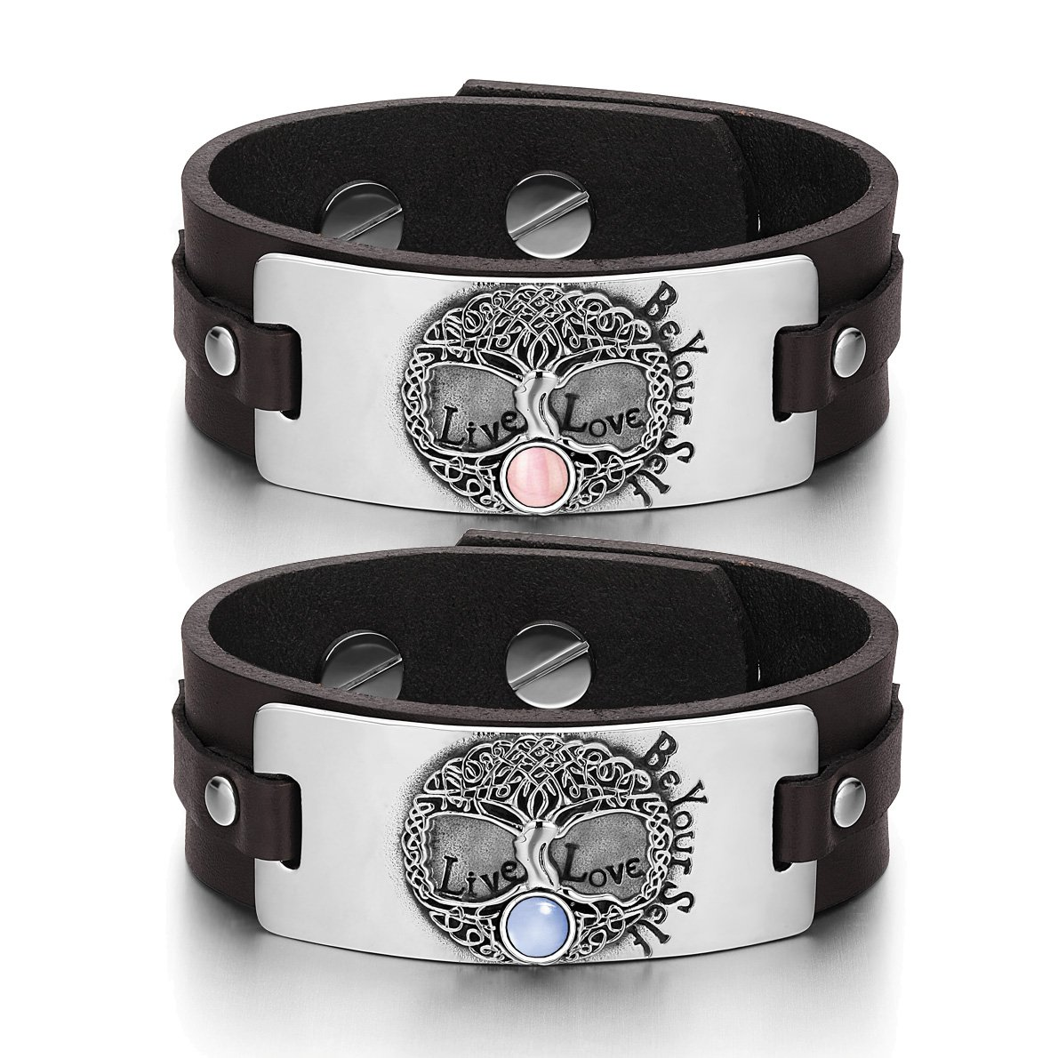 Tree of Life Celtic Powers Love Couples Pink Sky Blue Simulated Cats Eye Brown Leather Bracelets