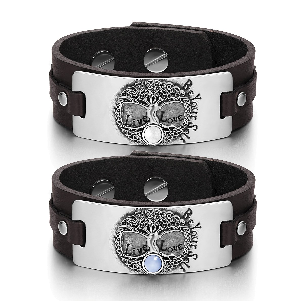 Tree of Life Celtic Powers Love Couples White Sky Blue Simulated Cats Eye Brown Leather Bracelets
