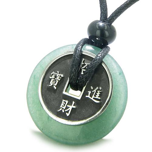 Amulet Lucky Coin Charm Donut Green Aventurine Good Luck Antiqued Pendant Necklace