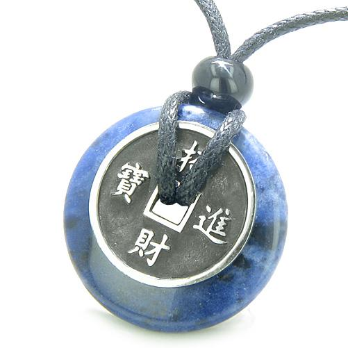 Amulet Lucky Coin Charm Donut Sodalite Good Luck Powers Antiqued Pendant Necklace