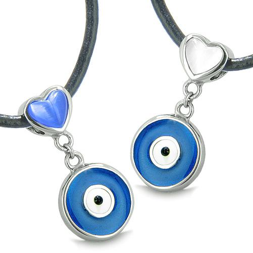 Amulets Evil Eye Protection Charms Reversible Hearts Love Couple or Best Friends Pendants Necklaces