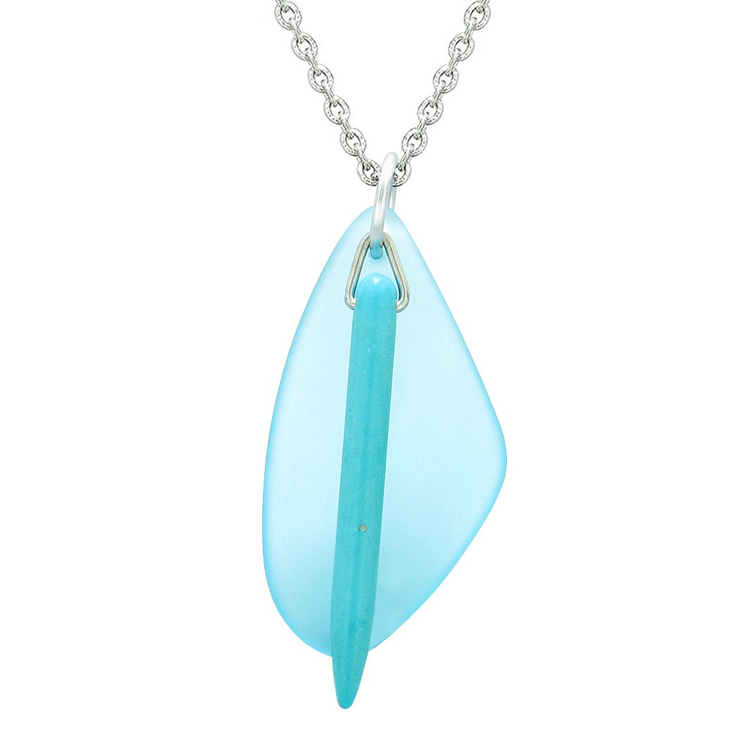 Large Lily Flower Leaf Simulated Turquoise Crystal Point Arrow Sky Blue Sea Glass Amulet 18 Inch Necklace