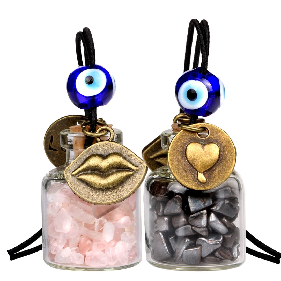 Caring Heart Magic Lips Love Couples Car Charms Home Decor Bottles Hematite Rose Quartz Amulets