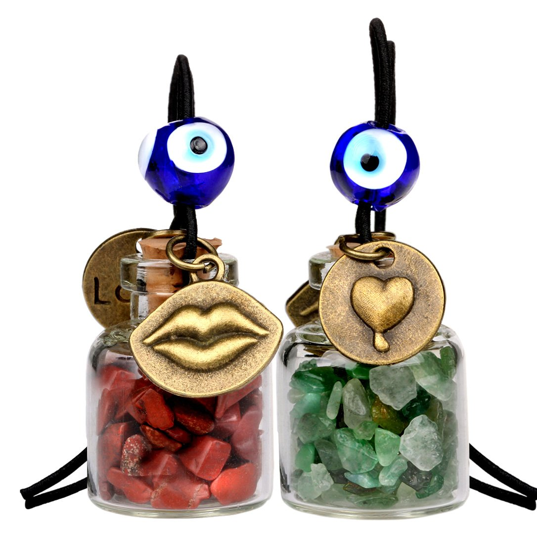 Caring Heart Magic Lips Love Couples Car Charms Home Decor Bottles Jasper Green Quartz Amulets