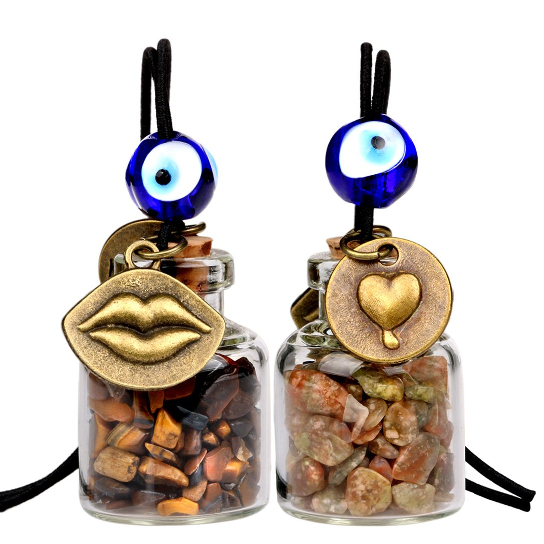 Caring Heart Magic Lips Love Couples Small Car Charms Home Decor Bottles Tiger Eye Unakite Amulets