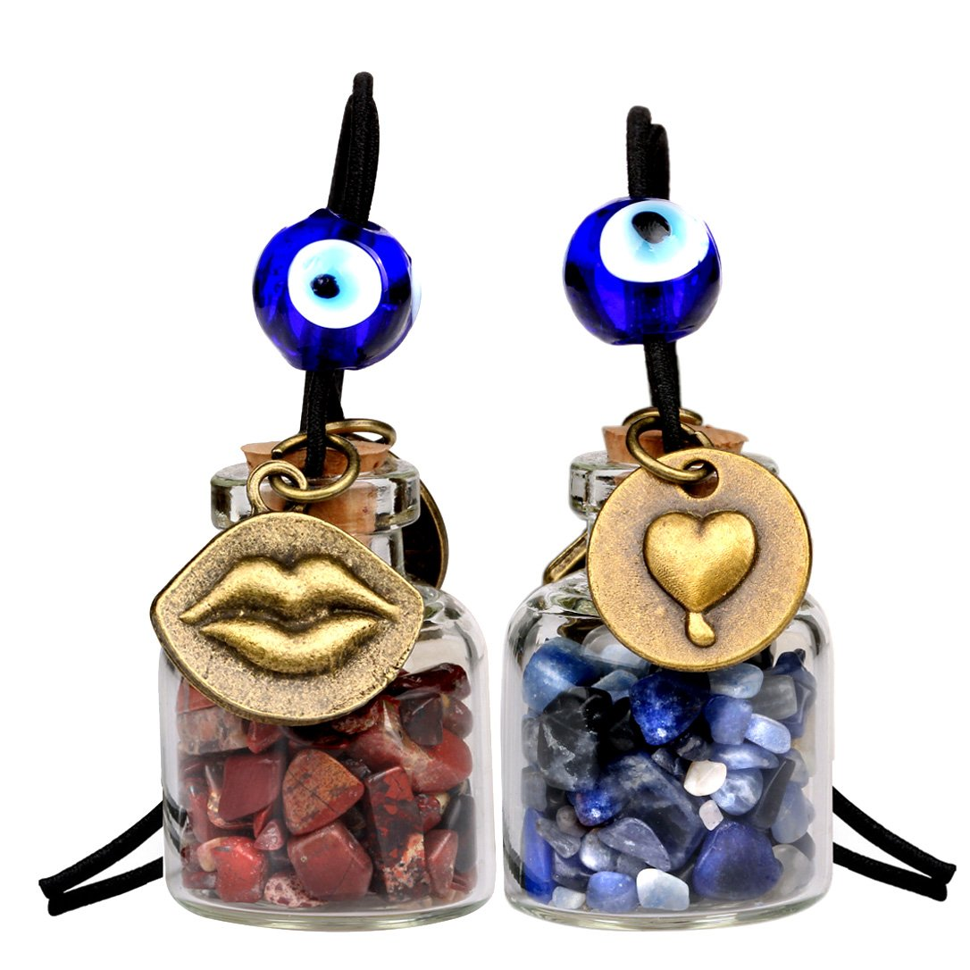 Caring Heart Magic Lips Love Couples Small Car Charms or Home Decor Bottles Sodalite Jasper Amulets