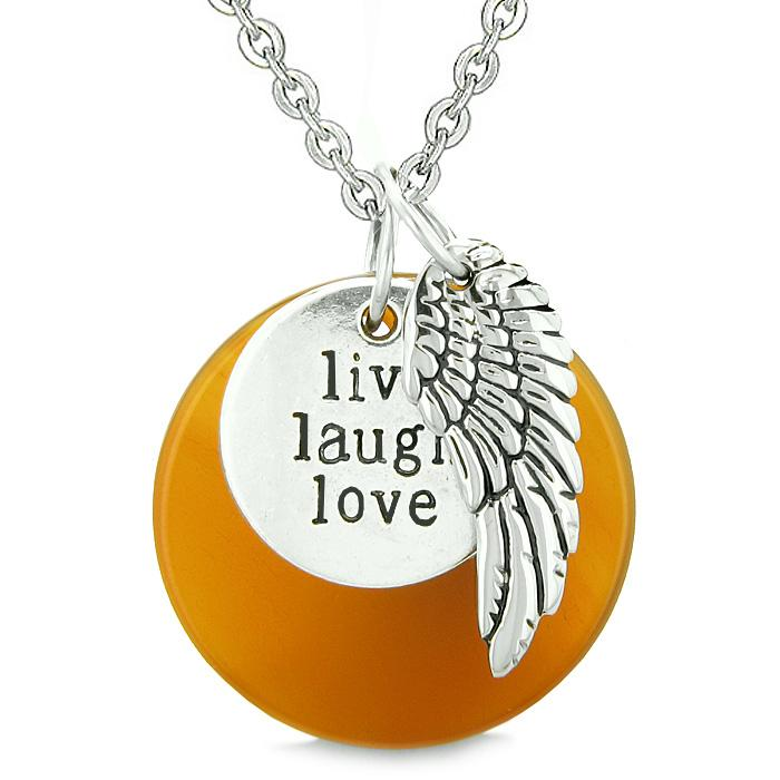 Guardian Angel Wing Live Laugh Love Inspirational Medallion Magic Amulet Carnelian 18 Inch Necklace