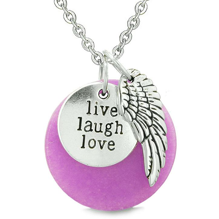 Guardian Angel Wing Live Laugh Love Inspirational Medallion Magic Amulet Purple Quartz Necklace